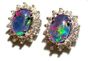 Women Gift sterling silver Opal Earring Australian Natural Black Triplet Opal