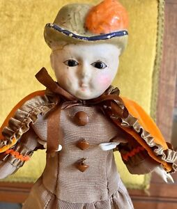 """Antique 12"""" C1840 German Wax Paper Mache Doll W/Orig Body With Wooden Appendages"""