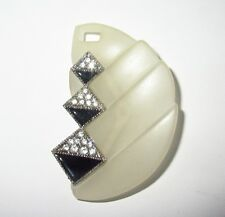 ART DECO/89 Clear LUCITE Pin with Black Enamel & Rhinestones Signed & Numbered