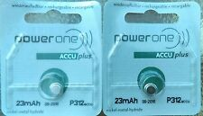 (2) Power One Size 312 Rechargeable Hearing Aid Batteries  Made In Germany- 2018