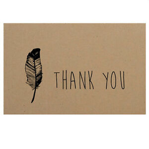 50 Thank You Kraft Paper Cards Cardstock 10x6.5CM Wedding Party Note Card Craft