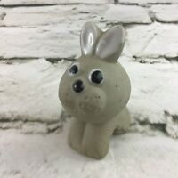"Clay Bunny Rabbit 2.5"" Figure Garden Decor Cute Critter Collectible Animal"