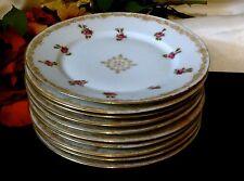 LIMOGES T&V FRANCE Signed HP 22K Gold Luncheon/Salad Plate Set of 10 >100 Yrs