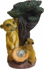 MEERKAT & BABY ON TREE STUMP SOLAR LED LIGHT GARDEN PATIO ORNAMENT LIGHT 957072