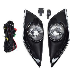 2pcs Clear Lens Fog Lights For 15-17 Nissan Versa w/ Bezel Wiring Switch Relay