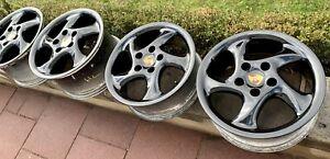 Porsche 911 993 996 Turbo Look 1 Turbolook I Felgen 7,5 + 10 X 18 Rim Set Black