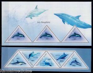 Guinea 2011 MNH 2 SS Set, Dolphins,Marine Life,Odd unusual Triangle shape