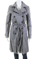 Gryphon New York Womens Cotton Double Breasted Belted Coat Gray Size Small
