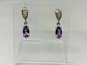 Gorgeous Sparkling Amethyst & Topaz Stud Dangle Earrings 925 Solid Silver #10512