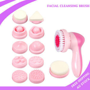 12 in 1 Electric Facial Spa Cleansing Brush Beauty Face Body Exfoliate Cleanser