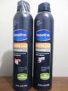 2x Vaseline MEN 24HR Moisture Spray Lotion Non Greasy Fast Absorbing 6.5 oz