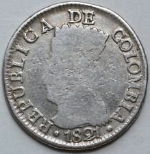 Colombia. 2 Reales 1821 Ba JF. Cundinamarca.