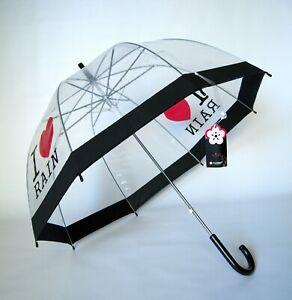LADIES TRANSPARENT CLEAR DOME AUTOMATIC I LOVE RAIN BLACK TRIM UMBRELLA NEW