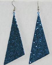 "Glitter triangle dangle drop earrings big 2.5"" aqua holiday sparkle cheer dance"
