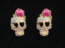 Sugar Skull Crystal Rose Diamanté Gold Colour Studs Rockabilly Vintage Goth Punk
