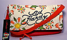 ED HARDY ($89.) NEW Shoulder Bag-Clutch-Purse/Wallet Florals on Canvas.  NWT.