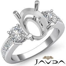 Three 3 Stone Diamond Wedding Unique Ring Round Oval Semi Mount Platinum 950 1Ct