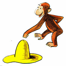 """3.5"""" Curious george monkey hat set wall safe sticker border cut out character"""