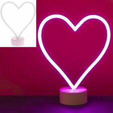 Heart Lamp Pink Neon Light Battery Operated Mood Lighting Kids Bedroom Love Gift