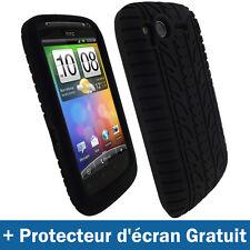 Noir Pneu Silicone Etui pour HTC Desire S Android Smartphone Housse Coque Case