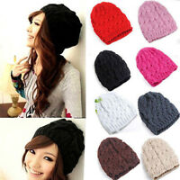 AS_ KQ_ Women Winter Fashion Cable Knit Crochet Hat Solid Color Warm Baggy Beani