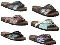Womens Ladies Slip On Multi Floral Summer Beach Toe Post Flip Flops Sandals Size