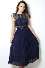 Blue Lace Long Cocktail Sexy Evening Pleated Portrait Tea Maxi Dress S UK4-6