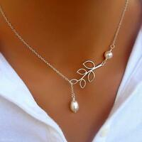 Women Girl Branch Leaf  Pearl Pendant Silver Plated Neck Chain Clavicle Necklace