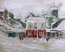 """Amazing Maurice UTRILLO Color Lithograph """"Snow Covered Montmartre"""" SIGNED COA"""