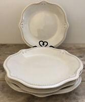 "(Set Of 4) Anchor Hocking Isabella Cream Ceramic Desert Salad Bread Plates 9"""