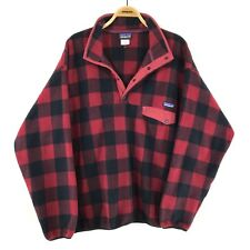 Patagonia Synchilla Snap-T Fleece Mens 2XL XXL buffalo red plaid pullover jacket