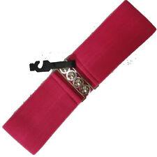 Épais rose élastique extensible large ceinture avec argent boucle