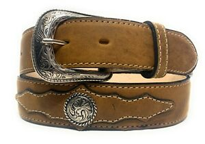 MEN'S WESTERN CONCHO LEATHER BELT. COWBOY RODEO SUEDE CONCHO LEATHER BELT