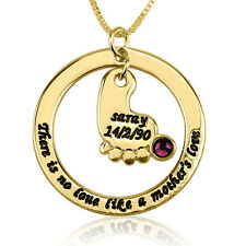 Footprint Necklace Gold Plated New Mother Name & Birthdate Gift - oNecklace ®