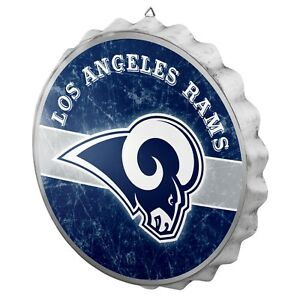 """Los Angeles Rams Bottle Cap Wall Sign - Distressed - Room Bar Decor Metal 13.5"""""""