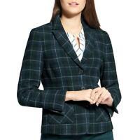 Basler Womens Plaid Wool Blend Three-Button Blazer Jacket BHFO 3000