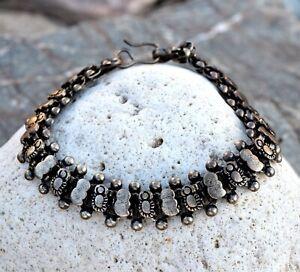 Brass Metal Bead Bracelet Rajasthan Indian Tribal Jewelry Vintage Boho Ethnic