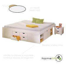 Lit double multi-fonction adulte 2 places 160 x 200 multi-rangement blanc pin...