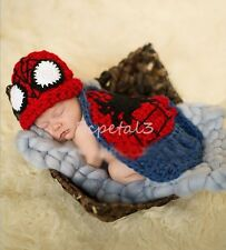 Newborn Baby Spiderman Crochet Knit Costume Photo Photography Prop Outfits