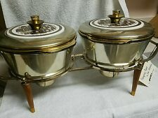 NWT 1950s GEORGES BRIARD DOUBLE BOWL WARMER SET. TABLE CENTERPIECE SIGNED ! WOW