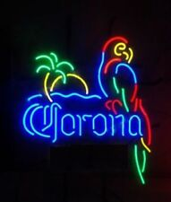 "New Corona Light Parrot With Palm Tree Man Cave Neon Light Sign 17""x14"""