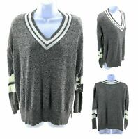 Poof Sweater Womens Small Charcoal with White Trim Long Sleeve V Neck