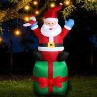 Aufblasbar Weihnachtsmann LED beleuchtet Weihnachten mit Geschenkbox 180cm Außen
