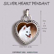 AMERICAN ESKIMO DOG - Ornate HEART PENDANT Tibetan Silver