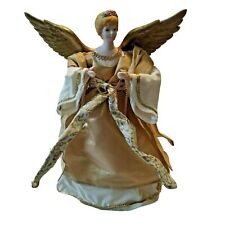 "Angel Tree Topper Christmas 12"" gold Ivory Ribbon Wings Blonde Vintage Metallic"