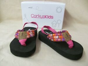"Corkys Kids Toddler Size 8 ""Karma"" Fuschia Multi Flip Flops w Elastic Back Strap"