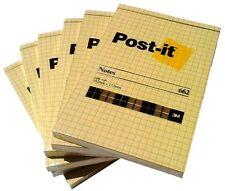 n. 6 pz. POST-IT 3M NOTES 662 - 102 x 152 mm - ORIGINALI AUTOADESIVI - QUADRETTI