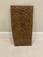 Hand Carved Signed Relief Plaque Wood Carving European Man Woman Sheep