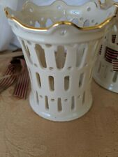 Lenox Ivory Lattice Gold Decorated Candle/Votive Holders No Use Bows Included