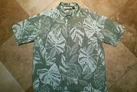 Cubavera Button Front Short Sleeve Shirt Rayon Floral Green XL Men